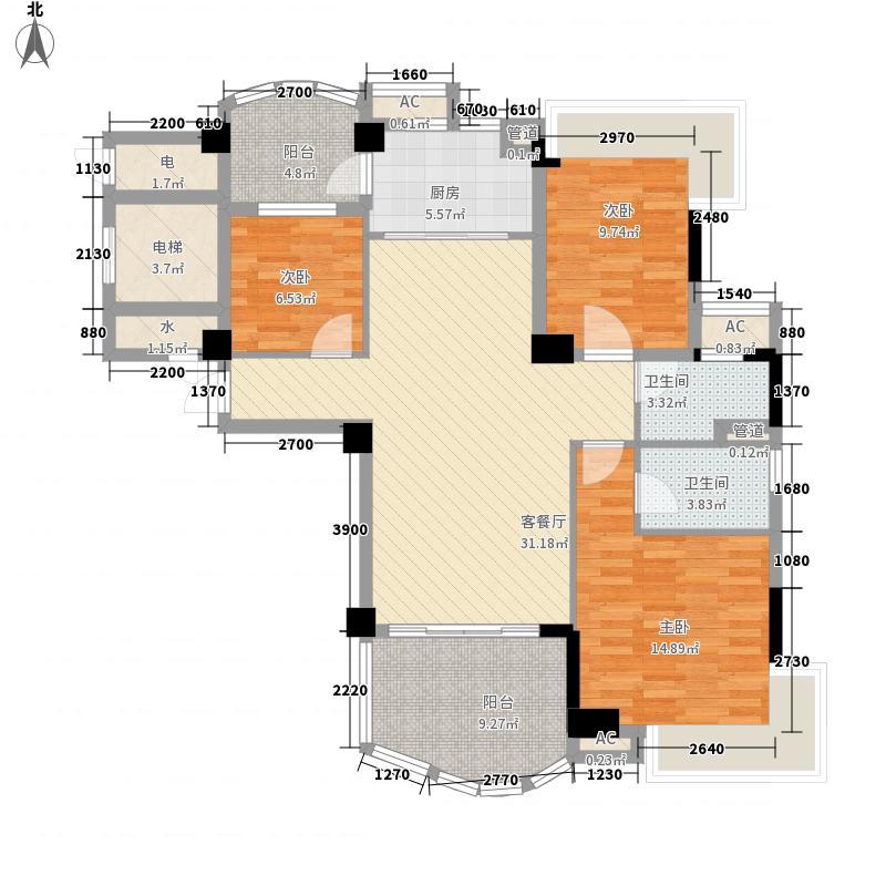 碧桂园・山湖湾121.00㎡林湖一街3座三~十层03户型3室2厅2卫1厨