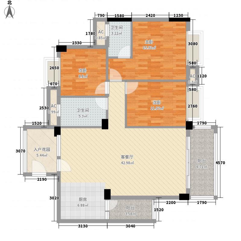美嘉华庭135.84㎡一期1号楼标准层08户型3室2厅2卫1厨