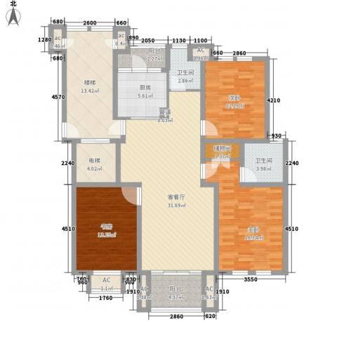 汇景盛世东方3室1厅2卫1厨114.74㎡户型图
