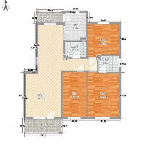 俪水豪庭3室1厅2卫1厨128.00㎡户型图