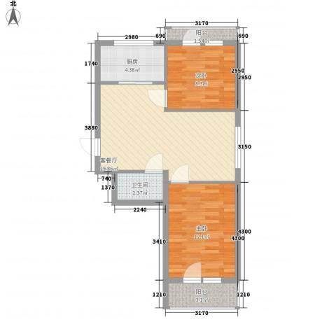 俪水豪庭2室1厅1卫1厨74.00㎡户型图