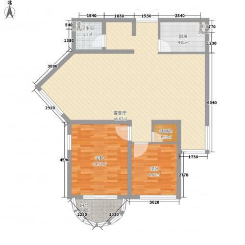 亚泰鼎盛国际2室1厅1卫1厨118.00㎡户型图
