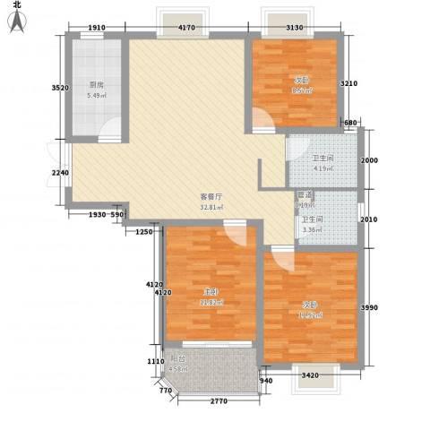 怡和花园3室1厅2卫1厨119.00㎡户型图