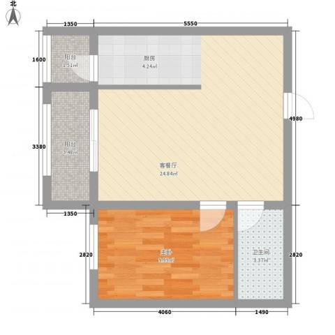 睿城臻品1室1厅1卫0厨43.19㎡户型图