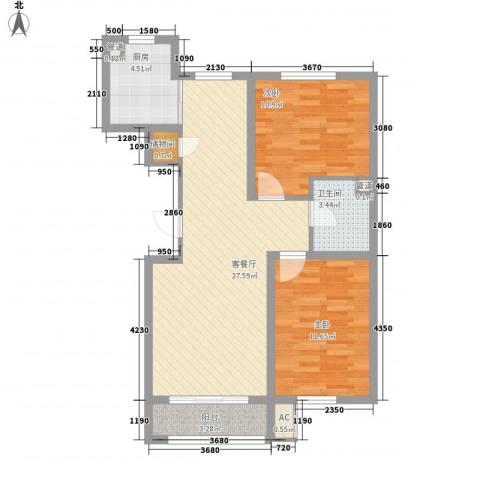 丰和西郡2室1厅1卫1厨92.00㎡户型图