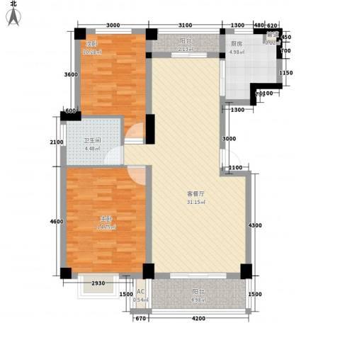 嘉逸花园2室1厅1卫1厨107.00㎡户型图