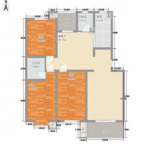 环岛豪庭3室1厅2卫1厨134.00㎡户型图
