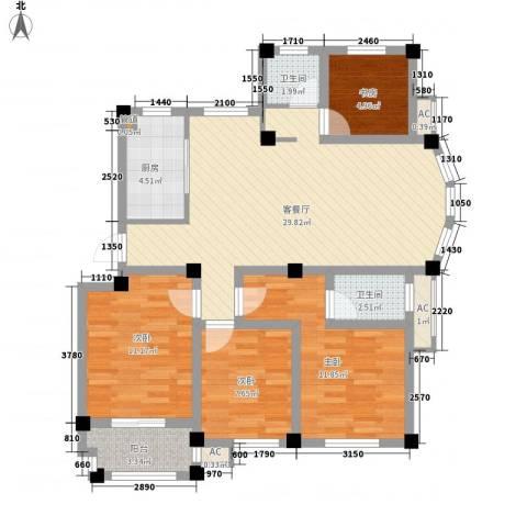 江信国际花园4室1厅2卫1厨118.00㎡户型图