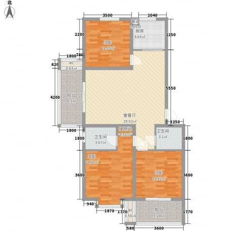 环岛豪庭3室1厅2卫1厨112.00㎡户型图