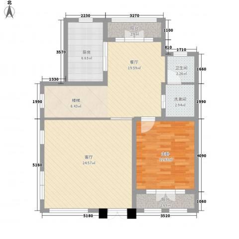 玖岛梦1室2厅1卫1厨106.00㎡户型图