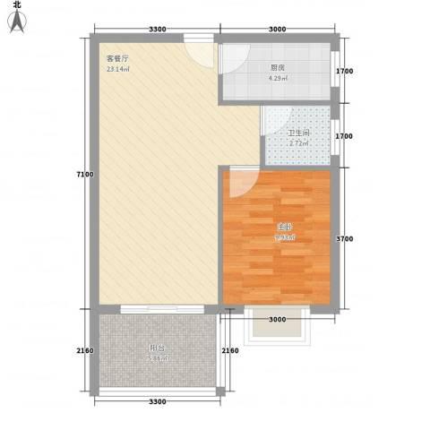 南景秀区1室1厅1卫1厨55.00㎡户型图
