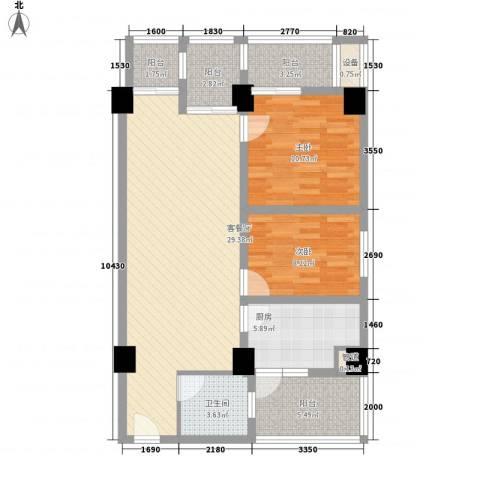 庄园丽都2室1厅1卫1厨108.00㎡户型图