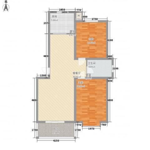 环岛豪庭2室1厅1卫1厨100.00㎡户型图