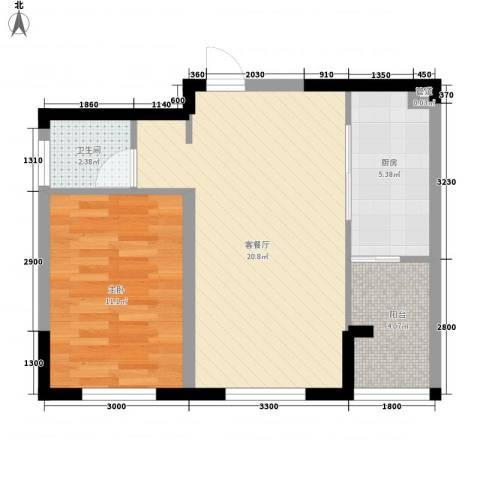 沈阳中体奥林匹克花园・花园新城1室1厅1卫1厨59.00㎡户型图