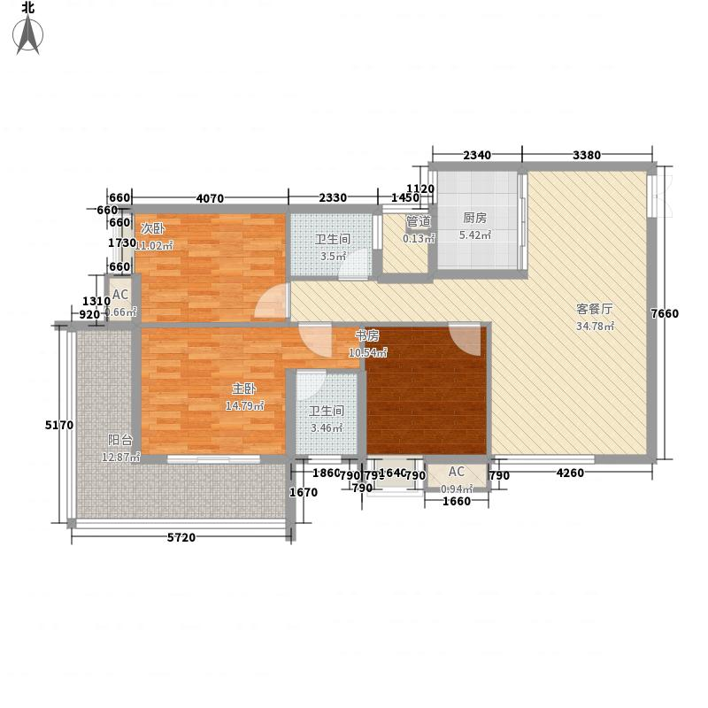 景泰佳园121.71㎡B户型3室2厅2卫1厨