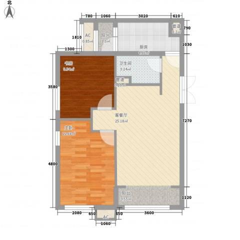 军安里小区2室1厅1卫1厨84.00㎡户型图