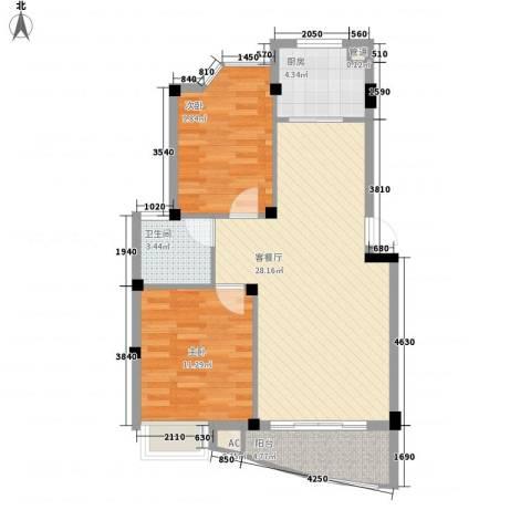 蓝湾景天2室1厅1卫1厨88.00㎡户型图