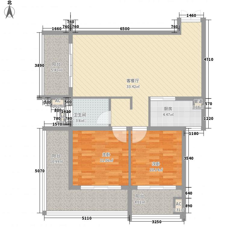 景泰佳园1.42㎡F1户型2室2厅1卫1厨