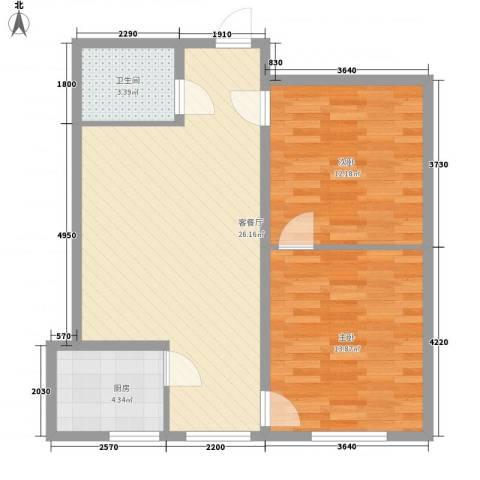 环岛豪庭2室1厅1卫1厨84.00㎡户型图