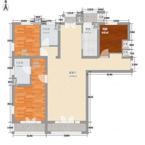东方太阳城明湖园3室1厅2卫1厨119.00㎡户型图