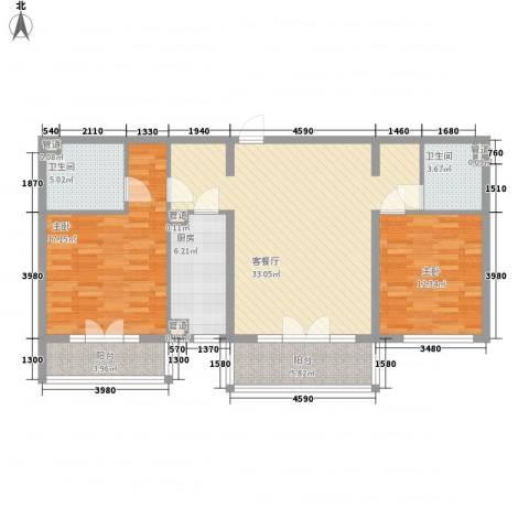 东方太阳城明湖园2室1厅2卫1厨125.00㎡户型图