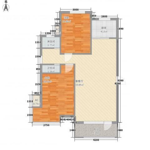 新星绿城四期2室1厅1卫1厨104.00㎡户型图