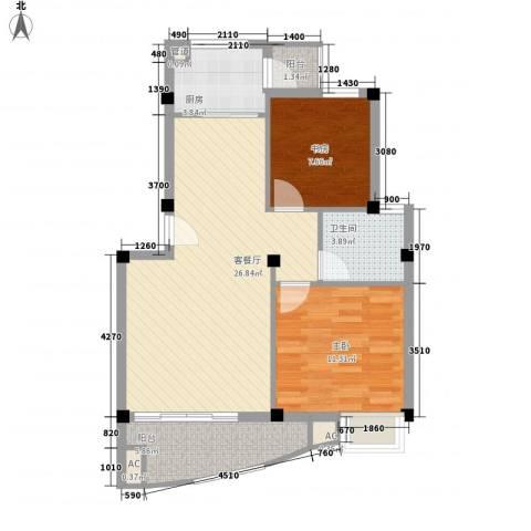 蓝湾景天2室1厅1卫1厨87.00㎡户型图
