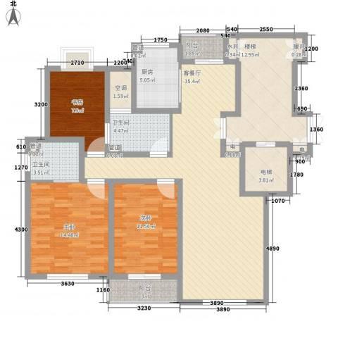 正棋山1号3室1厅2卫1厨119.00㎡户型图