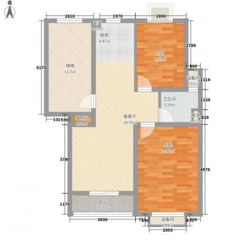 正棋山1号2室1厅1卫0厨77.00㎡户型图