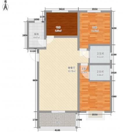 环岛豪庭3室1厅2卫1厨121.00㎡户型图