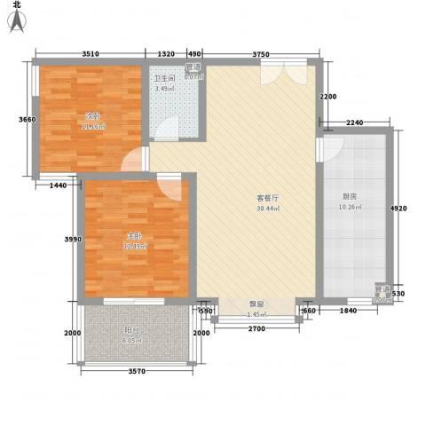福润康城2室1厅1卫1厨106.00㎡户型图