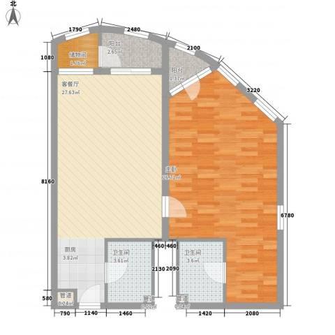 帝豪天下1室1厅2卫0厨96.00㎡户型图