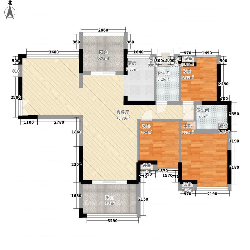 瑞华园户型图1栋偶数层B户型 3室2厅2卫