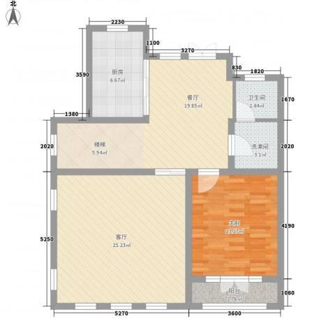 玖岛梦1室2厅1卫1厨105.00㎡户型图
