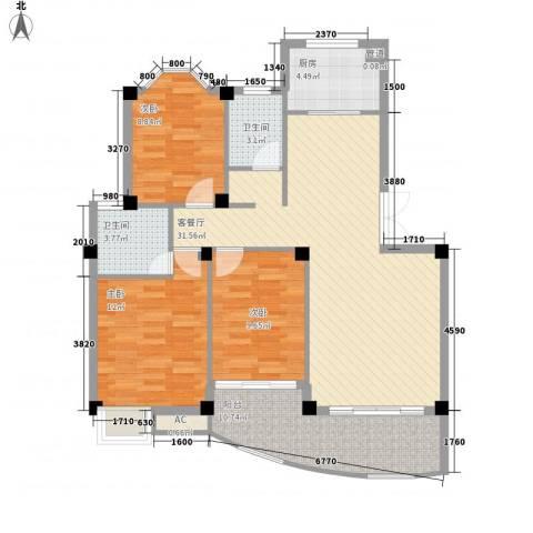 蓝湾景天3室1厅2卫1厨119.00㎡户型图