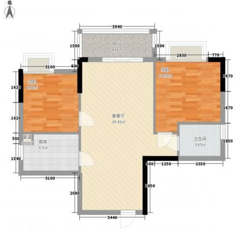 保利城二期2室1厅1卫1厨81.00㎡户型图