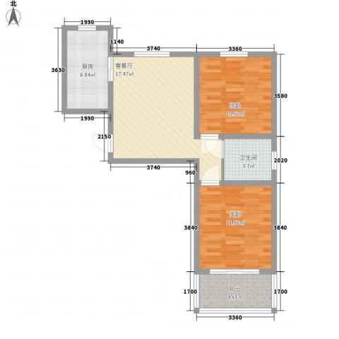 环岛豪庭2室1厅1卫1厨78.00㎡户型图