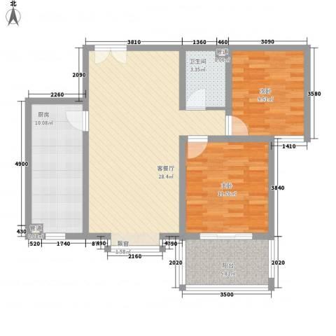 福润康城2室1厅1卫1厨99.00㎡户型图