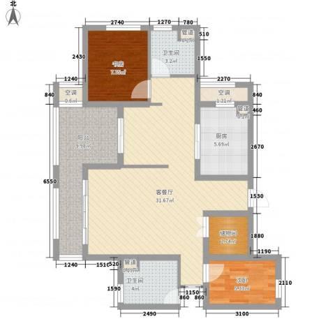 清泉山庄2室1厅2卫1厨108.00㎡户型图
