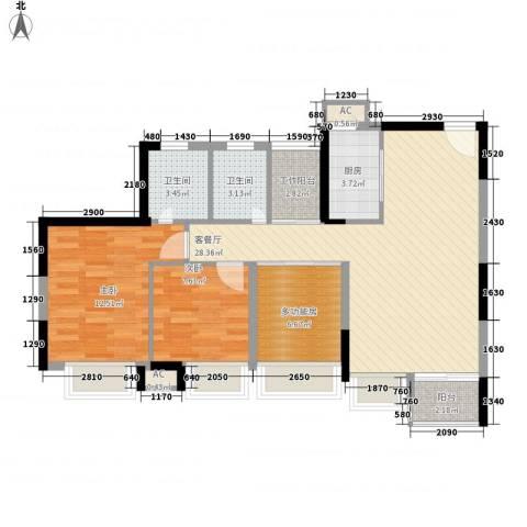丰泰东海城堡2室1厅2卫1厨90.00㎡户型图