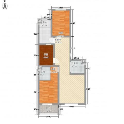 龙城御苑3室1厅2卫1厨84.49㎡户型图