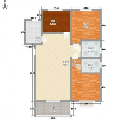 环岛豪庭3室1厅2卫1厨136.00㎡户型图