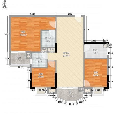 富邦名寓3室1厅2卫1厨113.00㎡户型图