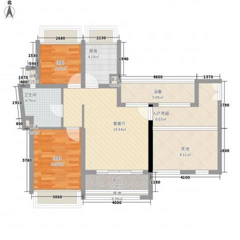 竹悦山水2室1厅1卫1厨68.42㎡户型图
