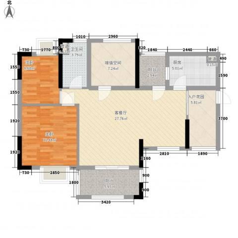 保利城二期2室1厅1卫1厨89.00㎡户型图