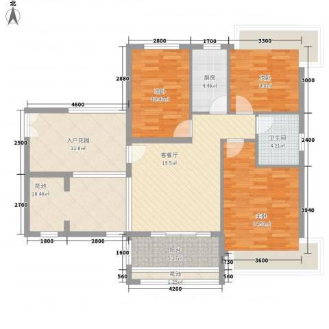 竹悦山水3室1厅1卫1厨90.61㎡户型图