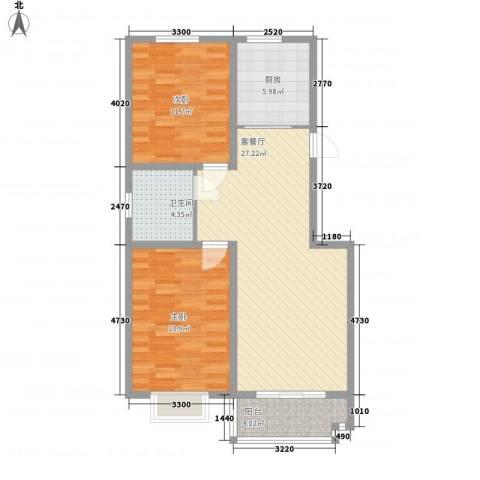 环岛豪庭2室1厅1卫1厨94.00㎡户型图
