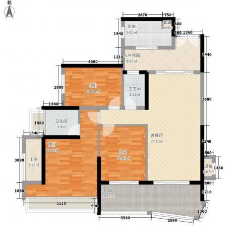 雅居乐海南清水湾3室1厅2卫1厨133.00㎡户型图