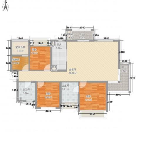 万年乐享世界3室1厅2卫1厨137.00㎡户型图