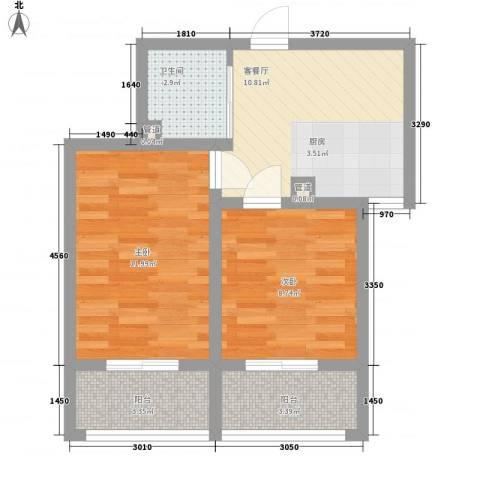 龙城御苑2室1厅1卫0厨49.09㎡户型图